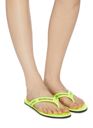 Figure View - Click To Enlarge - BALENCIAGA - Logo print leather thong sandals