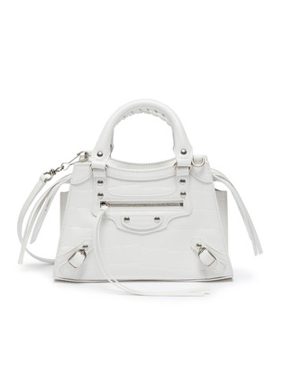 Main View - Click To Enlarge - BALENCIAGA - 'NEO CLASSIC CITY MINI' Croc Embossed Leather Bag