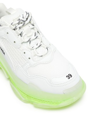 Detail View - Click To Enlarge - BALENCIAGA - 'TRIPLE S' Neon Sole Chunky Leather Sneakers
