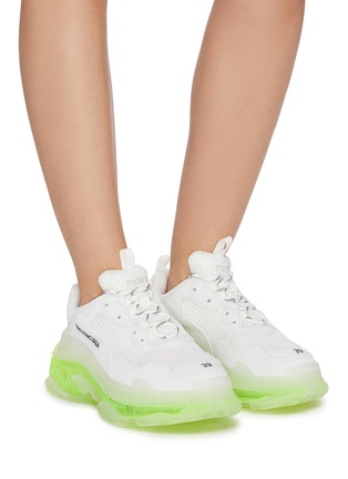 Figure View - Click To Enlarge - BALENCIAGA - 'TRIPLE S' Neon Sole Chunky Leather Sneakers