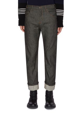 Main View - Click To Enlarge - NEIL BARRETT - Patch Pocket Seam Unwash Selvedge Jeans