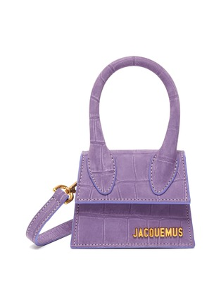 Main View - Click To Enlarge - JACQUEMUS - 'Small Chiquito' croc embossed suede top handle bag