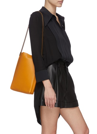 Figure View - Click To Enlarge - SAINT LAURENT - Chain strap leather hobo bag
