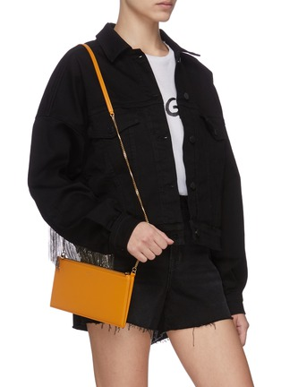 Figure View - Click To Enlarge - SAINT LAURENT - Matte leather crossbody pouch