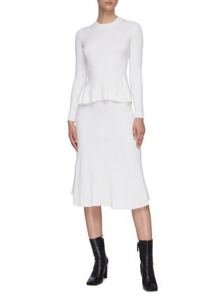 Figure View - Click To Enlarge - CRUSH COLLECTION - Flared wool skirt