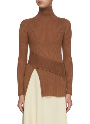 Main View - Click To Enlarge - CRUSH COLLECTION - Asymmetric slit hem turtleneck rib knit top