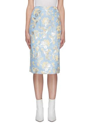 Main View - Click To Enlarge - MING MA - Floral embroidered jacquard pencil skirt