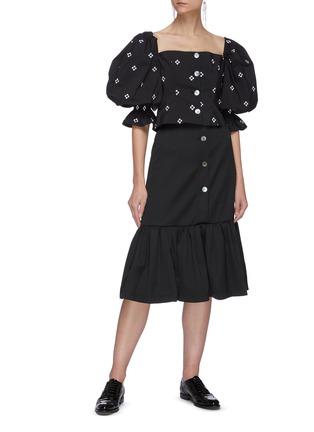 Figure View - Click To Enlarge - MING MA - Wool mermaid skirt