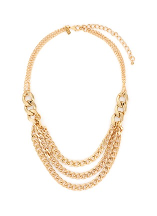 Main View - Click To Enlarge - KENNETH JAY LANE - Three layer extender gold chain link necklace