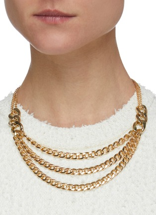 Figure View - Click To Enlarge - KENNETH JAY LANE - Three layer extender gold chain link necklace