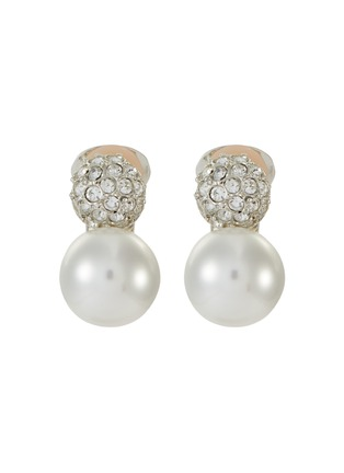 Main View - Click To Enlarge - KENNETH JAY LANE - Crystal pavé pearl clip earrings
