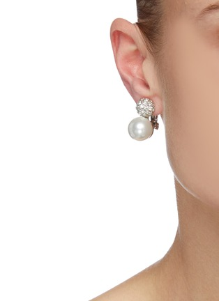 Figure View - Click To Enlarge - KENNETH JAY LANE - Crystal pavé pearl clip earrings