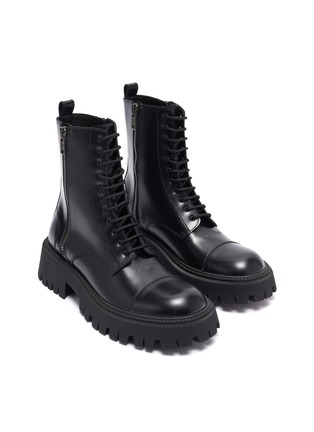 Detail View - Click To Enlarge - BALENCIAGA - 'Strike' leather military boots