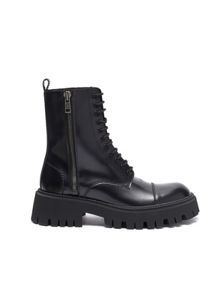 Main View - Click To Enlarge - BALENCIAGA - 'Strike' leather military boots