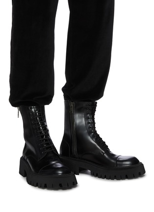 Figure View - Click To Enlarge - BALENCIAGA - 'Strike' leather military boots