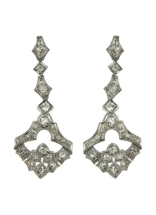 Main View - Click To Enlarge - LANE CRAWFORD VINTAGE JEWELLERY - Art Deco Style diamond 18k white gold earrings