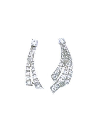 Main View - Click To Enlarge - LANE CRAWFORD VINTAGE JEWELLERY - Estate diamond platinum earrings