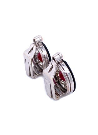 Detail View - Click To Enlarge - LANE CRAWFORD VINTAGE JEWELLERY - Diamond ruby onyx 18k white gold cluster earrings