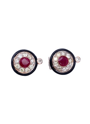 Main View - Click To Enlarge - LANE CRAWFORD VINTAGE JEWELLERY - Diamond ruby onyx 18k white gold cluster earrings