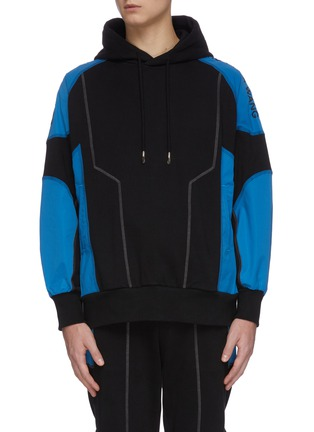 Main View - Click To Enlarge - FENG CHEN WANG - 'Pepsi' Contrast panel loose fit hoodie