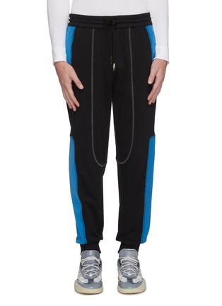 Main View - Click To Enlarge - FENG CHEN WANG - 'Pepsi' contrast panel jogging pants