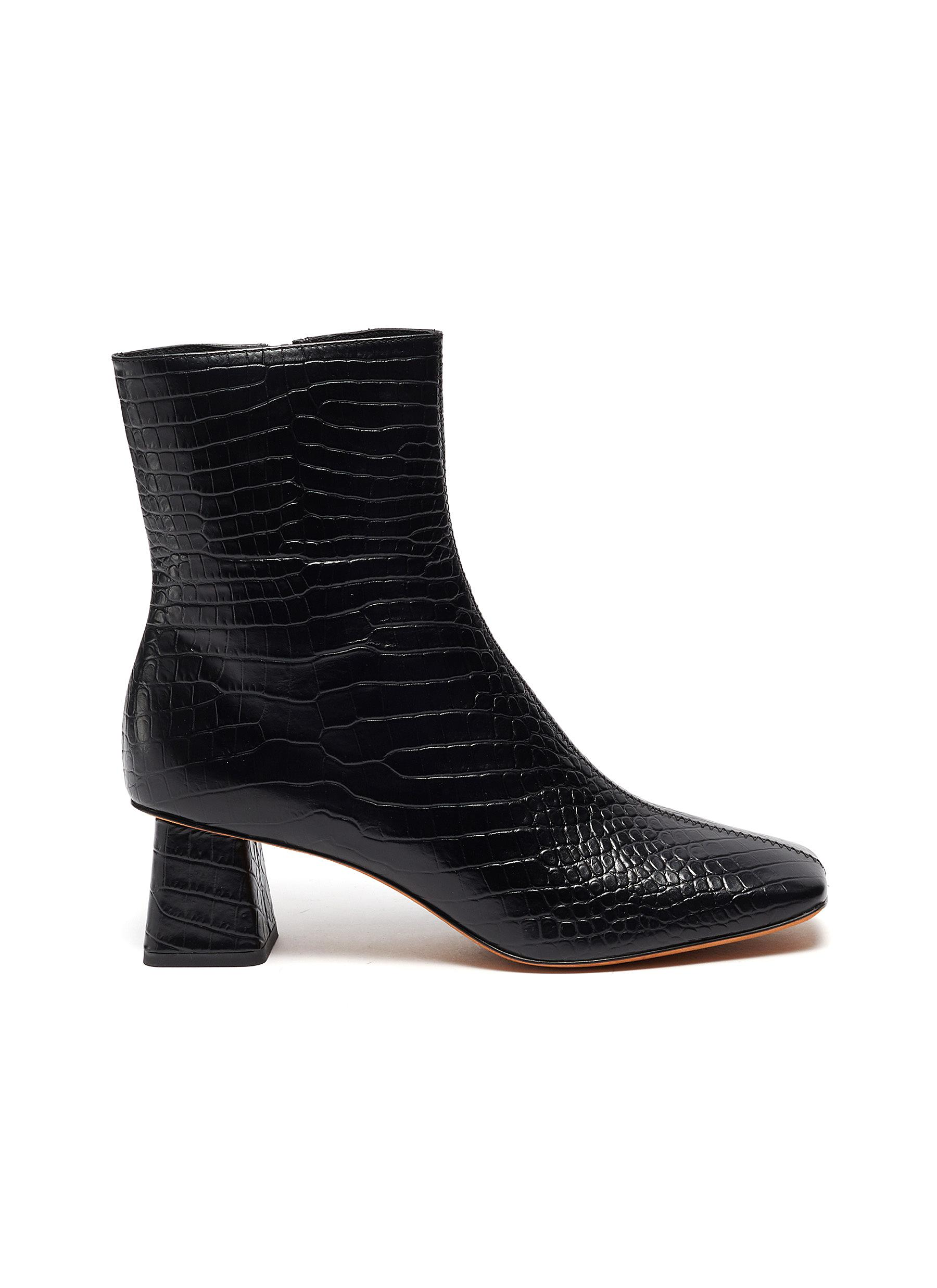 Vince 'KOREN' CROC-EMBOSSED LEATHER ANKLE BOOTS