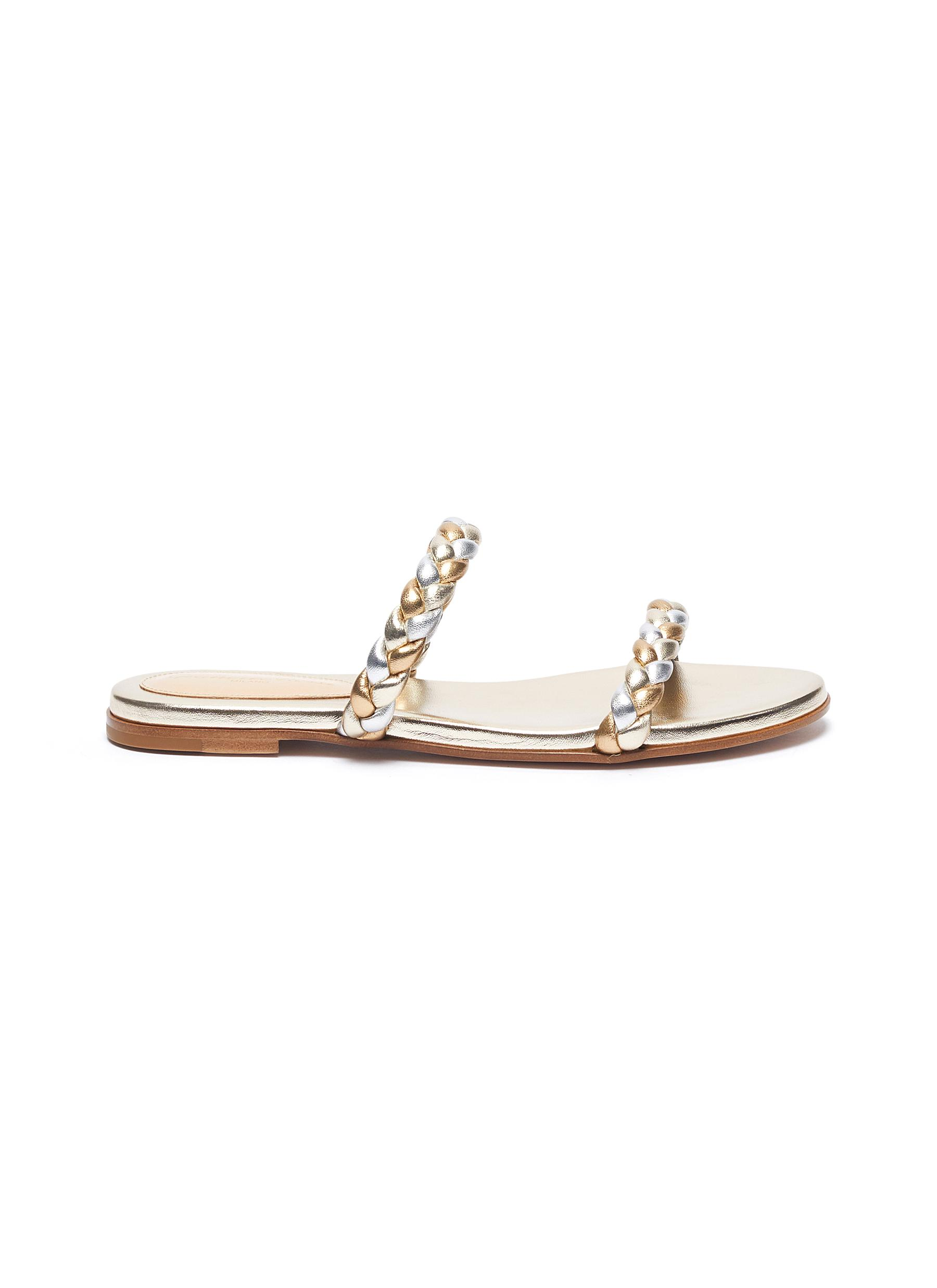 Gianvito Rossi WOVEN LEATHER FLAT SANDALS