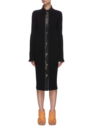 Main View - Click To Enlarge - BOTTEGA VENETA - Chunky rib button up dress