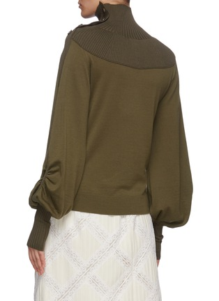 Back View - Click To Enlarge - CHLOÉ - Turtleneck rib panel wool knit top