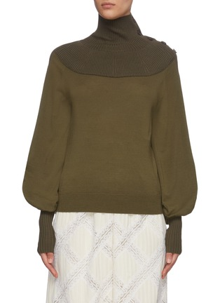Main View - Click To Enlarge - CHLOÉ - Turtleneck rib panel wool knit top