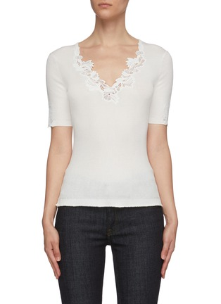 Main View - Click To Enlarge - CHLOÉ - Lingerie lace V neck knit top