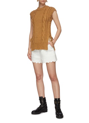 Figure View - Click To Enlarge - CHLOÉ - Quilted jacquard scallop hem shorts