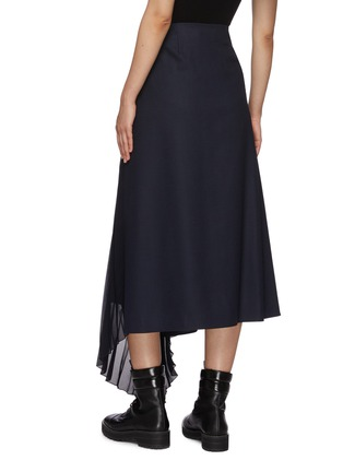 Back View - Click To Enlarge - CHLOÉ - Pleated sheer insert wool blend midi skirt