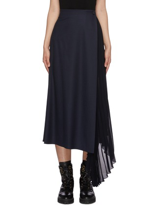 Main View - Click To Enlarge - CHLOÉ - Pleated sheer insert wool blend midi skirt