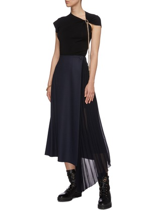 Figure View - Click To Enlarge - CHLOÉ - Pleated sheer insert wool blend midi skirt