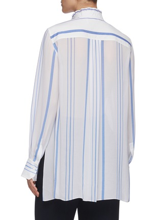 Back View - Click To Enlarge - CHLOÉ - Ruffle trim stand collar stripe shirt