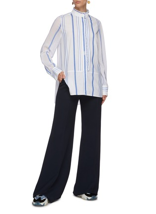 Figure View - Click To Enlarge - CHLOÉ - Ruffle trim stand collar stripe shirt