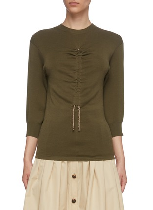 Main View - Click To Enlarge - CHLOÉ - Ruched drawstring front knit top