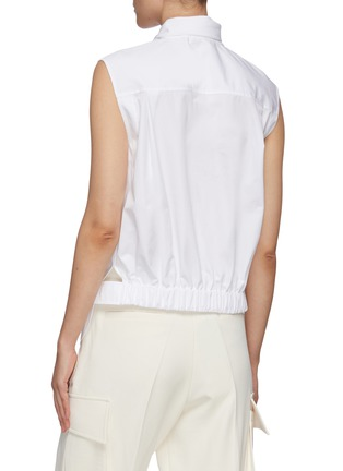 Back View - Click To Enlarge - CHLOÉ - Sleeveless tie neck cotton poplin shirt