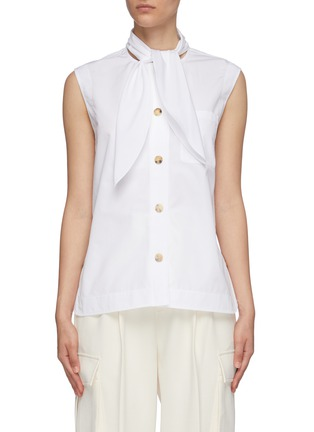 Main View - Click To Enlarge - CHLOÉ - Sleeveless tie neck cotton poplin shirt