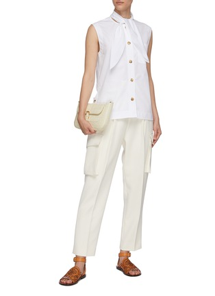 Figure View - Click To Enlarge - CHLOÉ - Sleeveless tie neck cotton poplin shirt