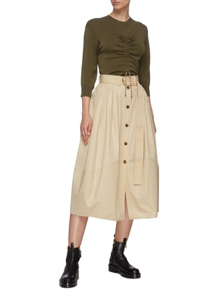 Figure View - Click To Enlarge - CHLOÉ - Buttoned up cotton poplin midi skirt