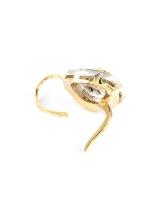 Detail View - Click To Enlarge - LANE CRAWFORD VINTAGE JEWELLERY - Diamond emerald 18k gold earrings