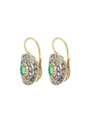 Main View - Click To Enlarge - LANE CRAWFORD VINTAGE JEWELLERY - Diamond emerald 18k gold earrings