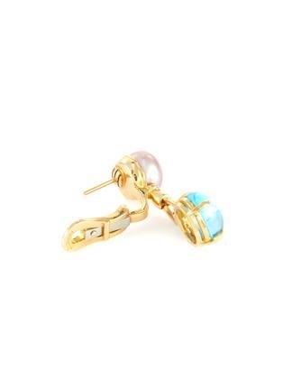 Detail View - Click To Enlarge - LANE CRAWFORD VINTAGE JEWELLERY - Bulgari 'Allegra' Tahitian pearl topaz 18k gold earrings