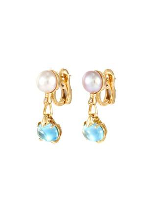 Main View - Click To Enlarge - LANE CRAWFORD VINTAGE JEWELLERY - Bulgari 'Allegra' Tahitian pearl topaz 18k gold earrings