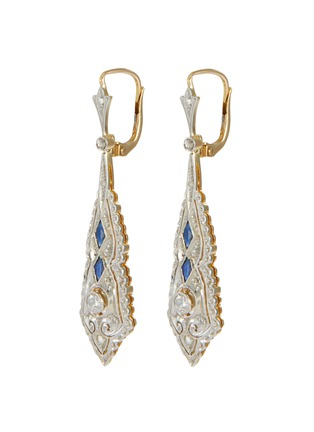Main View - Click To Enlarge - LANE CRAWFORD VINTAGE JEWELLERY - Diamond sapphire 18k gold drop earrings