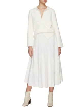 Figure View - Click To Enlarge - SWAYING - Pleated wool knit skirt