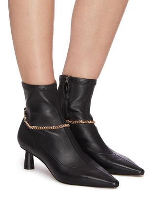 Figure View - Click To Enlarge - PEDDER RED - Avery' chain detail stretch leather ankle boots