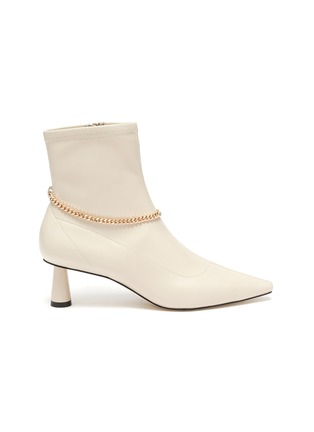 Main View - Click To Enlarge - PEDDER RED - Avery' chain detail stretch leather ankle boots